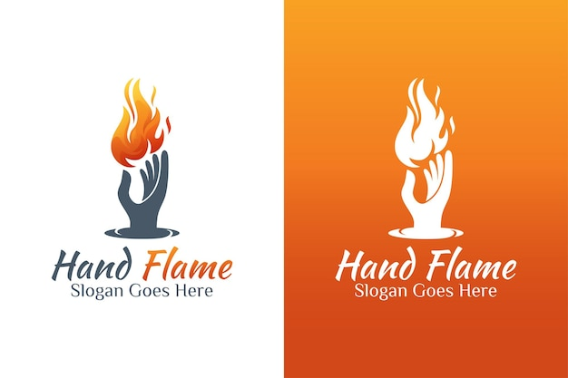 Vintage retro fire or flame and hand energy care logo for bravery, fire care, torch flame symbol