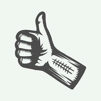 Урожай ретро кулак с большими пальцами руки вверх. графика. векторные иллюстрации.
