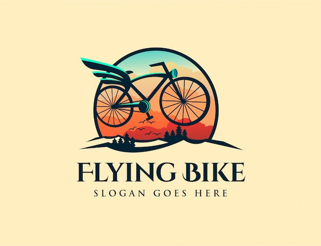Vintage retro flying bike logo