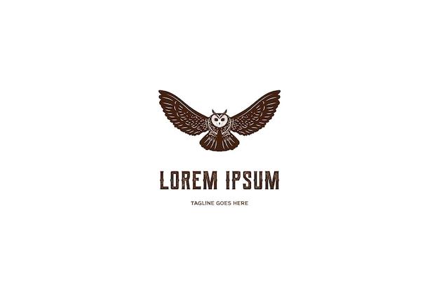 ヴィンテージレトロフライングフクロウ鳥ロゴデザインベクトル