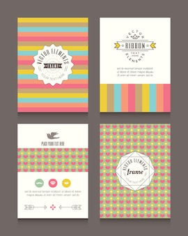 Vintage retro frames and backgrounds Design