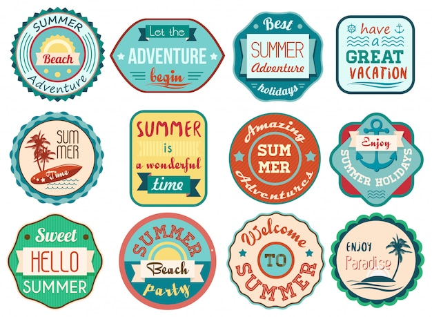 Vintage retro grunge summer stickers