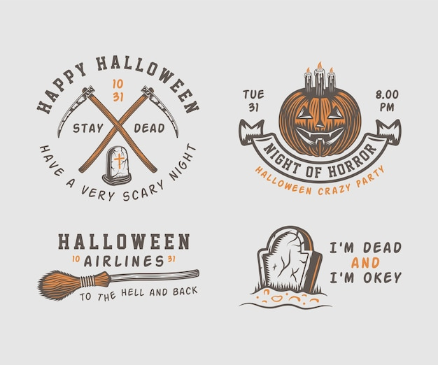 Набор старинных ретро хэллоуин эмблемы