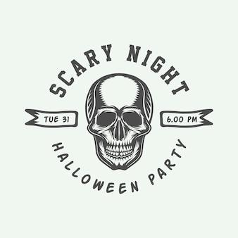 Винтажный ретро хэллоуин логотип эмблема значок метка знак патч монохромная графика