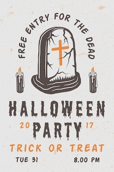 Vintage retro halloween scary poster with grave. monochrome graphic art. vector illustration.
