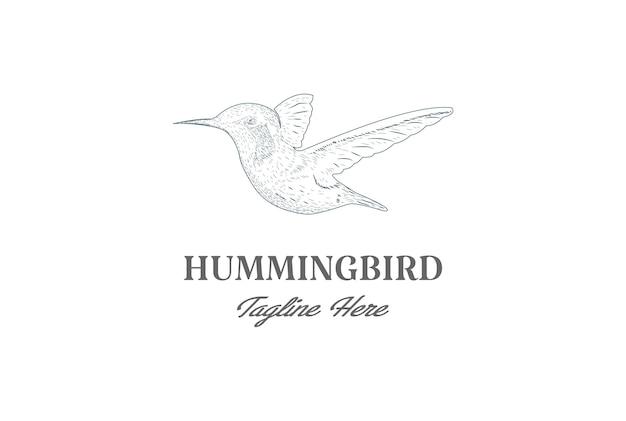 ヴィンテージレトロ手描きハチドリまたはコリブリ鳥ロゴデザインベクトル