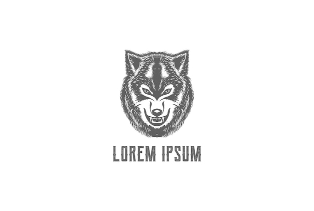 タトゥーロゴデザインベクトルのヴィンテージレトロ手描きオオカミ犬の頭