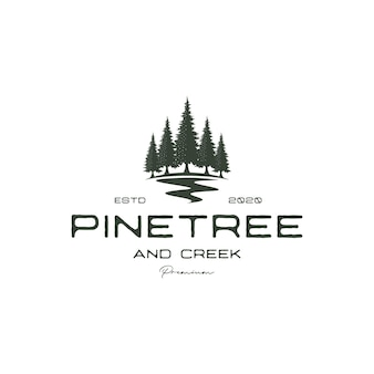 Vintage retro hipster pine tree and river or creek evergreen timberland logo design vector
