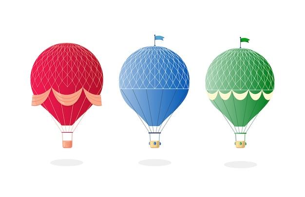 Урожай ретро воздушный шар с корзиной в небе, изолированные на фоне.