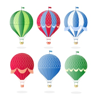 Винтаж ретро воздушный шар с корзиной в небе
