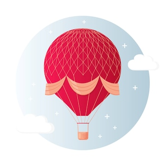 Vintage retro hot air balloon with basket in sky isolated on background.