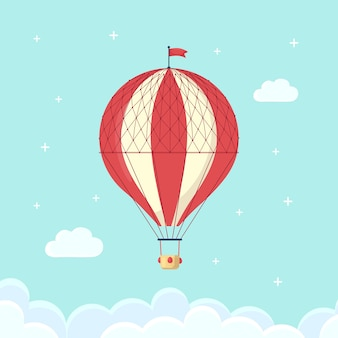 Vintage retro hot air balloon with basket in sky