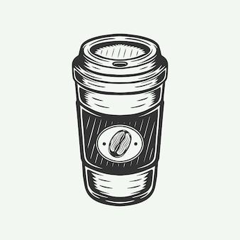 Винтажная ретро чашка горячего кофе