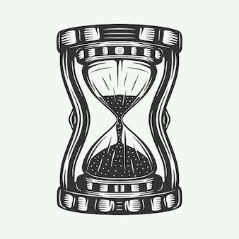 빈티지 복고풍 모래 시계 시계는 엠블럼 로고 배지 라벨 마크 포스터 또는 인쇄처럼 사용할 수 있습니다.