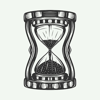 Vintage retro hourglass watches can be used like emblem logo badge label mark poster or print