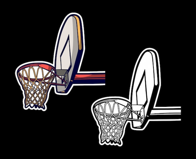 Vintage retro illustration of basketball hoop colored and black white