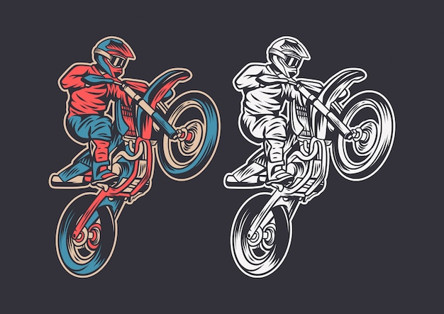 Vintage retro illustration motocross jump