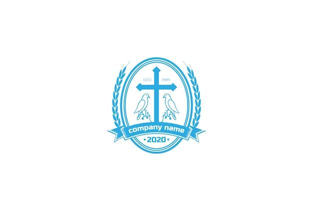 教会のチャペルのロゴデザインベクトルの鳩鳩鳥バッジエンブレムとヴィンテージレトロイエスキリスト教の十字架