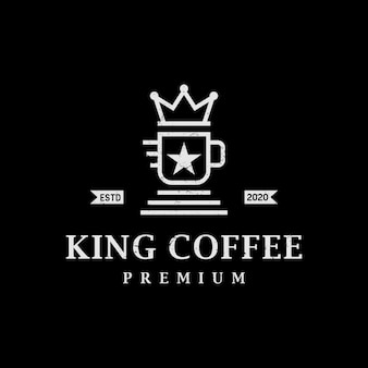 Vintage retro king coffee logo design