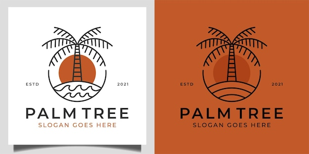 Vintage retro logo of nature palm tree in beach or ocean with wave for summer vibes vacation logo template