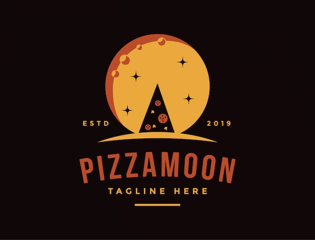 Vintage retro logo of pizza and the moon night