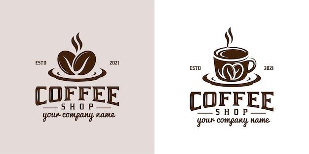 ヴィンテージのレトロなロゴとクラシックなコーヒーショップ
