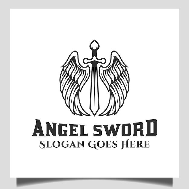 戦士のロゴ、ラベル、エンブレム、サインの翼要素を持つ天使の剣のヴィンテージレトロなロゴ