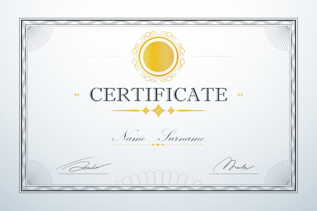 Vintage retro luxury design. certification card frame template
