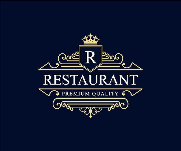 호텔 카페 커피숍과 레스토랑을 위한 장식용 프레임이 있는 빈티지 복고 고급 문장 로고