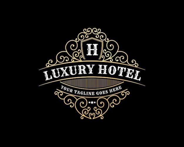 호텔 카페 레스토랑 커피숍을 위한 장식용 프레임이 있는 빈티지 복고 고급 문장 로고 프리미엄 벡터