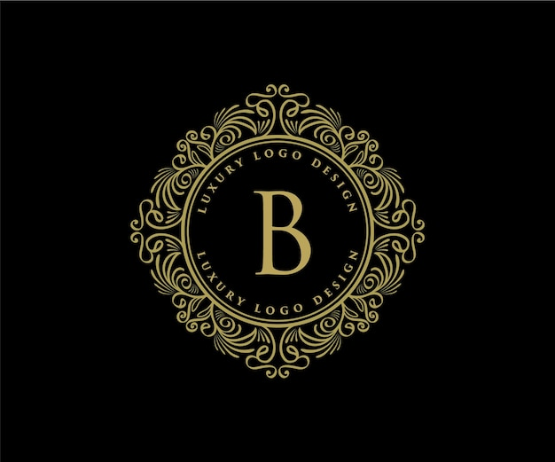 Vintage retro luxury heraldic logo with ornamental frame for hotel cafe coffee shop and jewelery
