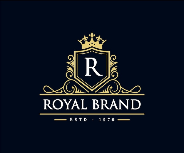 Vintage retro luxury victorian calligraphic emblem heraldic logo with crown and ornamental frame
