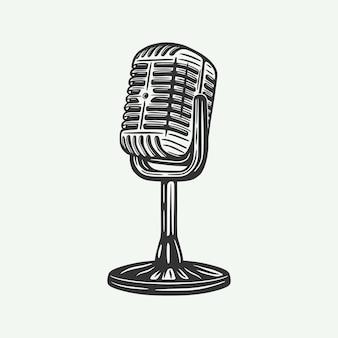 Винтажный ретро микрофон можно использовать как эмблему, логотип, значок, ярлык, ярлык, плакат или печать