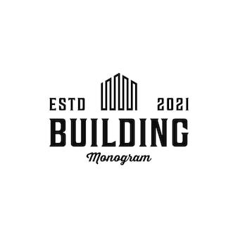 ヴィンテージレトロなミニマリストの建物のロゴデザイン