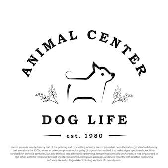 ヴィンテージレトロモノライン犬のロゴ動物クリニック動物店の植物デザインベクトルを持つ犬