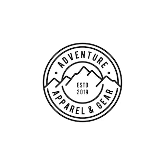 Vintage retro mountain stamp logo template for adventure outdoor