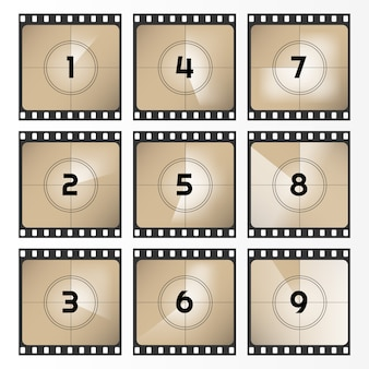 Vintage retro movie. countdown frame out 0 to 9. film countdown illustration. old film. illustration.
