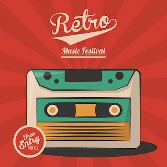 Vintage retro music festival cassette invitation