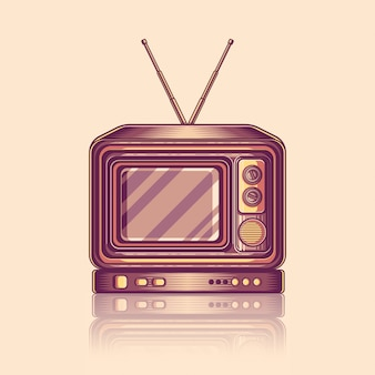 Vintage retro old tv television vector illustration