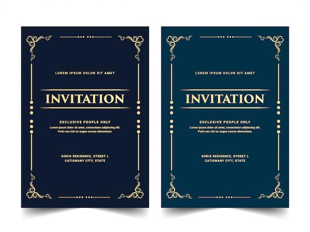 ヴィンテージレトロ古いビクトリア朝の王室と豪華な結婚式の記念日誕生日パーティーのお祝いカードテンプレートの招待状カードのセット