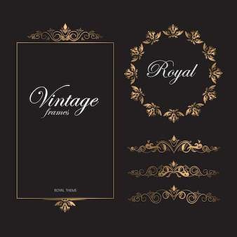 Vintage retro pattern golden frames royal theme