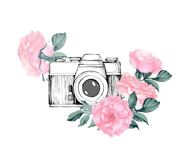 Vintage retro photo camera in flowers leaves branches on white background vector illustration