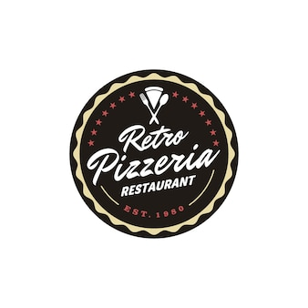 Vintage retro pizza pizzeria restaurant label emblem sticker badge logo