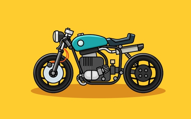 Vintage and retro racer motorcycle line vector flat style