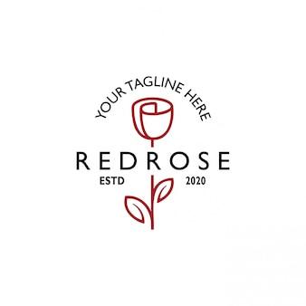 Vintage retro rose line art logo