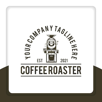 레스토랑에 대 한 빈티지 레트로 소박한 커피 로스터 기계 전기 배지 로고 디자인 벡터