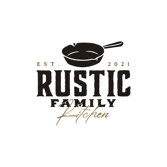 Vintage retro rustic old skillet cast iron for traditional food dish cuisine classic restaurant kitchen logo design