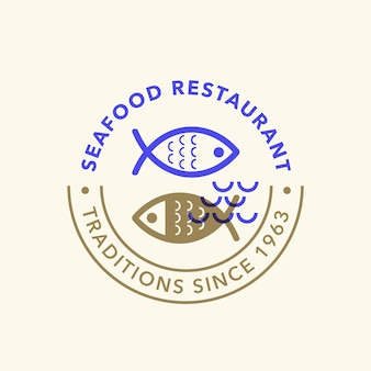 Vintage retro seafood logo badge