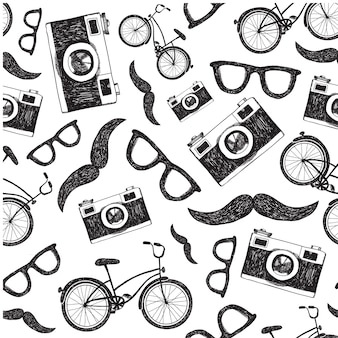 Vintage, retro seamless hipster background with bicycles, cameras and glasses