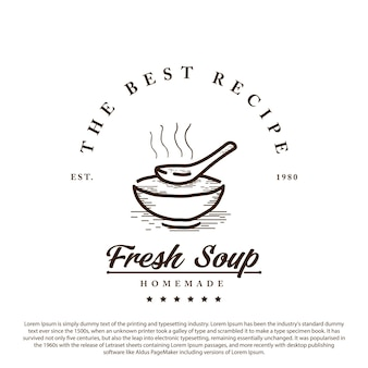 Vintage retro soup logo bowl with soup and spoon minimalist outline vector illustration
